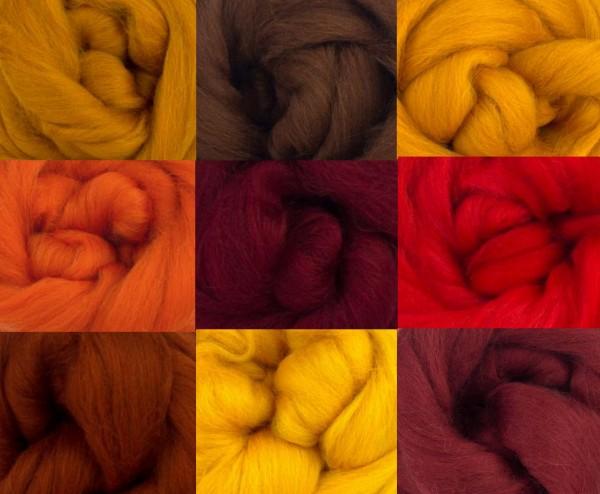 Merino Wool Tops -FIRE TONES - Pack of 9
