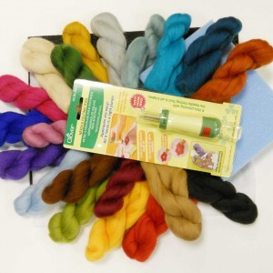 Needle-Felting-Kit-with-20-Merino-Wools-and-Clover-Punch-Tool-B00CX2J7N4