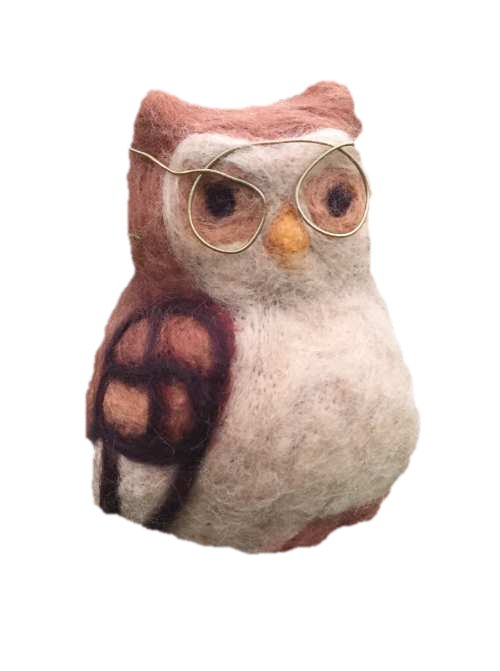 Owl with glasses white
